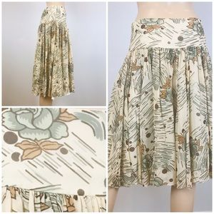 Kenneth Cole Floral Tan Silk Skirt Size 2